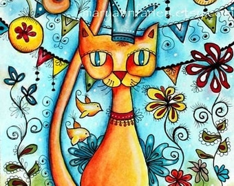 Cat Art Print, Mexican Art Print, Whimsical Art Flowers and Birds, Storybook Art, 8 x 10, Watercolor Mixed Media, Turquoise Blue Orange