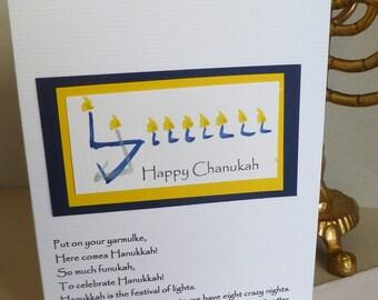 Chanukkah Card with Humorous Adam Sandler Quote and Hand Painted Menorah