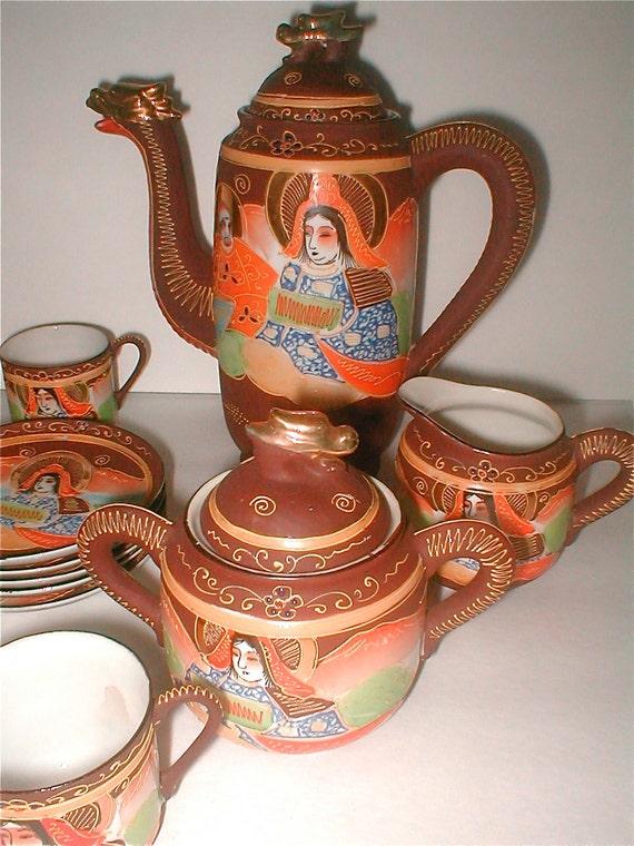 Takito Dragonware Porcelain Tea Set Wwii Japan Moriage