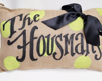 Polka Dot Monogram Name Burlap Pillow