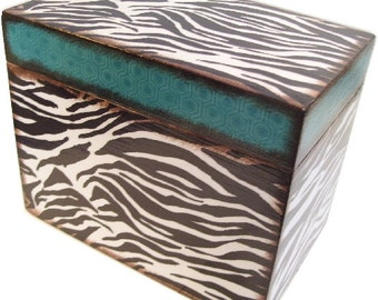 Recipe Box, Wedding Guest Book Box, Holds 4x6 Cards, Bridal Shower Gift, Storage and Organization, Large Box, Zebra Print Box, MADE TO ORDER