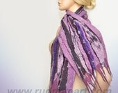 Felted Scarf made of Wool and Silk Lilac Foggy Purple Pale Rose Gray