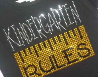 My Grade Rules with ruler rhinestud tee by Daisy Creek Designs