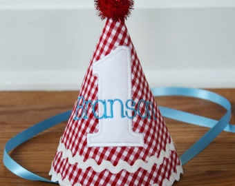 Boys First Birthday Hat - Red gingham, aqua, and white - Free personalization