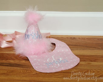 Girls First Birthday Hat and bib - Soft pink and white dots with baby blue accents - Unique giftl