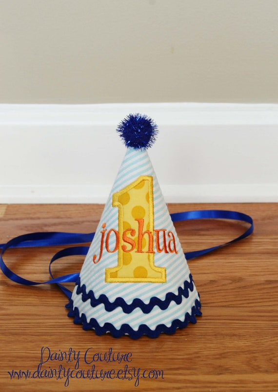 Boy First Birthday Hat - Aqua stripes, Michael Miller sunny ta dots, orange, and navy blue accents - Free personalization