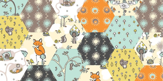 Scamper Hexagon Patchwork   Certified ORGANIC by  Rebekah Ginda Birch Fabrics 1/2 Yard, SALE