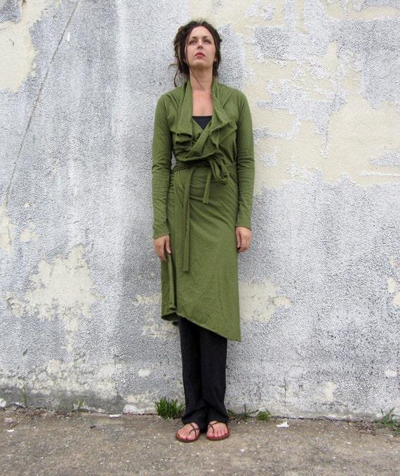 ORGANIC Cocoon Belted Below Knee Jacket ( NC organic cotton knit ) - organic jacket