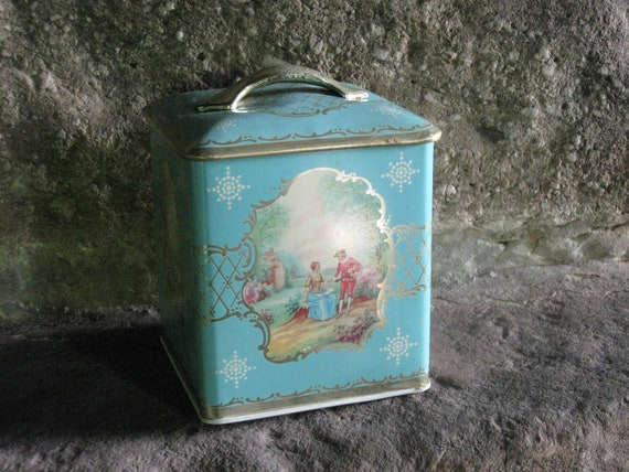 Vintage Metal Box Co, Ltd Decorative Lidded Tin