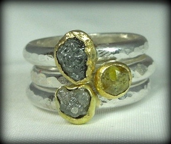Rough Diamond silver and gold   Stacking  Rings, raw diamond ,engagement, wedding ,bridal