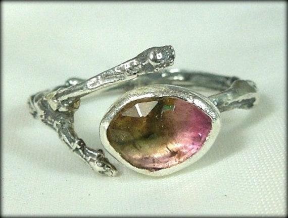 tourmaline silver twig ring, gemstone ring