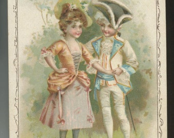 Ivers Pond Piano Victorian advertising trade card Wheeler Maine 19th Ct couple dress ephemera