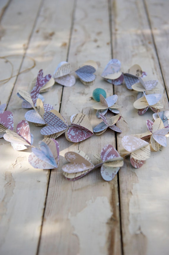Winter wedding garland, Winter Wonderland, Winter garland, ice blue, icy blue, dusty blue, rustic wedding, paper garland, heart garland