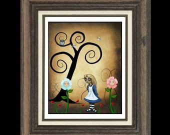 Alice In Wonderland  Whimsical Art Print -- Alice and Flowers 8 x 10 - - Art  Prints and Posters Giclee