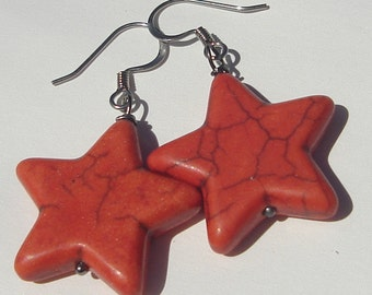 Pierced Dangle Star Earrings orange stars pierced dangle Star Earrings hand made wire wrapped earrings