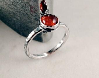 Amber ring, Stacking, Sterling Silver, golden gemstone, hammered