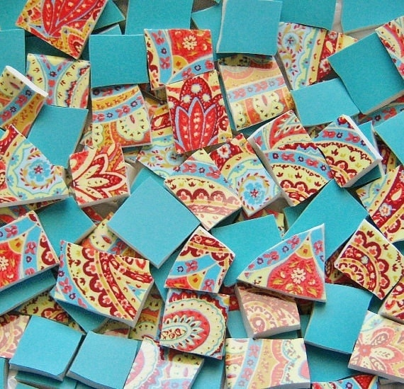 Mosaic Tiles---MOROCCAN PAISLEY Custom Mix--100 Tiles///Mosaic Mirrors/Planters/tabletop/etc