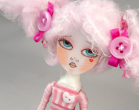Sew Buttons Doll One of a Kind Clothes Pin Art Doll by Doll Project Pink Pastel Sweet