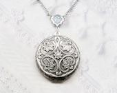 Silver Locket Necklace - Silver FLOWER LOCKET - Celtic Design - ORIGINAL Jewelry by BirdzNbeez - Wedding Birthday Bridesmaids Gift