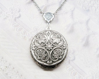 Silver Locket Necklace - Silver FLOWER LOCKET - Celtic Design - ORIGINAL Jewelry by BirdzNbeez - Wedding Birthday Bridesmaids Gift