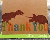 DINOSAUR ROAR BIRTHDAY Thank You notecard  5 1/2 x 4 1/4  on recycled kraft Set of 15