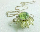 Soldered Bauble Charm Necklace, Vintage Assemblage Pendant, Mint Green Beaded Pendant, Shabby Chic Necklace, Gift for Bridesmaids, Blessings