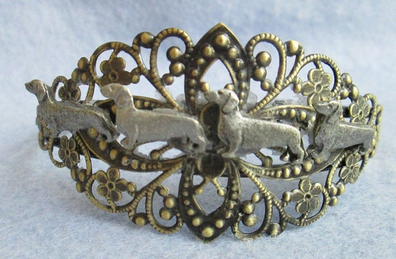 "Four Dachshund Antiqued Brass and Pewter Filigree ""Posse"" Bracelet-One of Two Limited Edition"