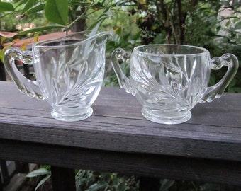Vintage Sugar Bowl and Creamer - Clear Pressed Glass - Leaf Design