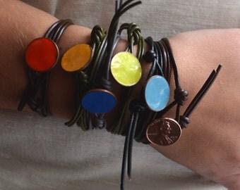 Leather Wrap Enameled Lucky Penny Bracelet
