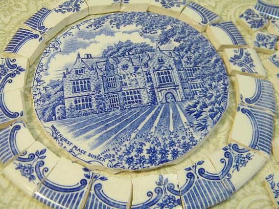 China Mosaic Tiles AnTiQuE EnGLiSH BLuE TOiLE Broken Plate Tiles