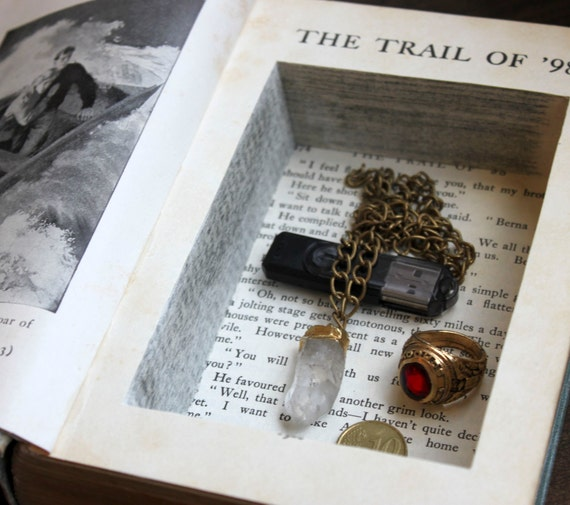 hollow book safe ''the trail of ninety-eight' - secret stash book