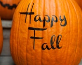 "Halloween Pumpkin Decals, ""Happy Fall"", jack o lantern stickers, easy pumpkin decorating, fall decor, pumpkin front porch decorations"