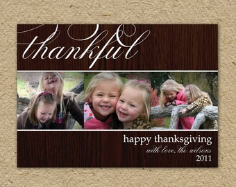 Thankful - Thanksgiving card, elegant photo card for Thanksgiving, Thanksgiving photo card