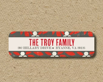 Custom return address labels - red and gray berries