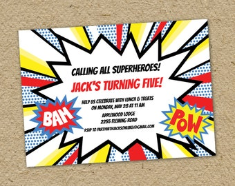 Comic book birthday party invitation, super hero birthday party, bam pow comic bubble party invitation - comic book