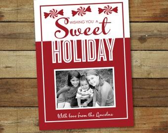 Sweet candy holiday card, holiday card, candy Christmas card