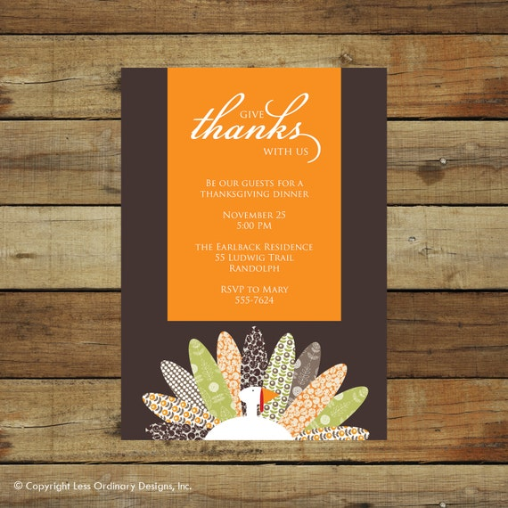 Modern turkey Thanksgiving dinner invitation, printable Thanksgiving invitation, Thanksgiving party