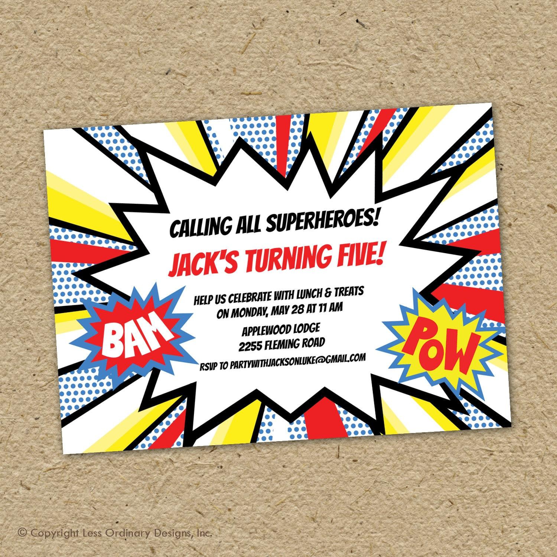 Superhero Birthday Party Invites for great invitation sample