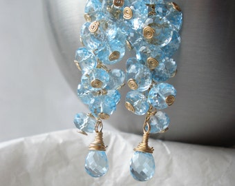 Sky drops waterfall earrings---sky blue topaz,14kgf earrings