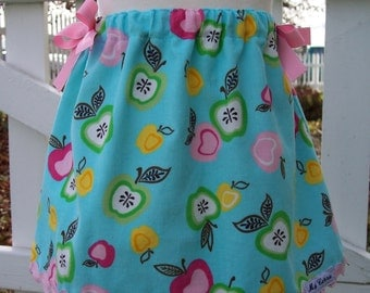 My Carrie Custom Turquoise Corduroy Apples A-Line Skirt