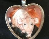 Hairless Dumbo Rat Heart Pendant Wearable art for the Rat Lover