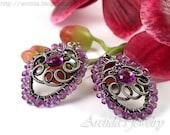 Purple earrings Amethyst earrings oxidized sterling silver - Amethyst jewelry fall fashion plum violet purple gemstone ohtteam oht - Niolle