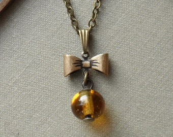 1/2 Price Sale!!! Mr. Bow Tie, Victorian Glass Waistcoat Button Necklace-Amber