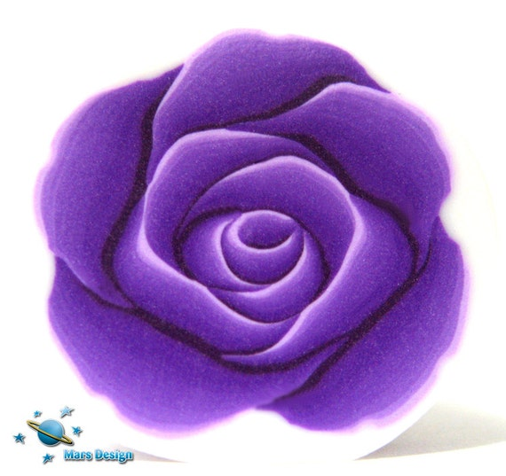 Polymer clay cane purple ROSE cane -by Mars