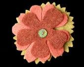 Upcycled Flower Felt Brooch Free Shipping US