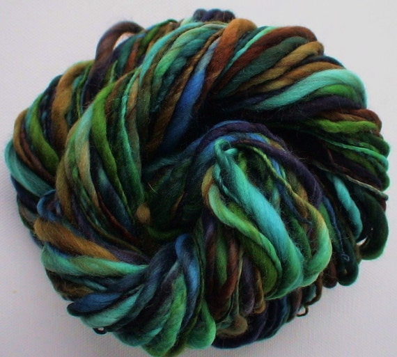 Handspun yarn Thick and Thin merino bulky 60yards Tui