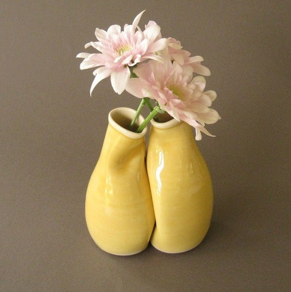 """Simple Yellow Vase Pair, Unique wedding, engagement or anniversary gift, """"My only sunshine"""""""