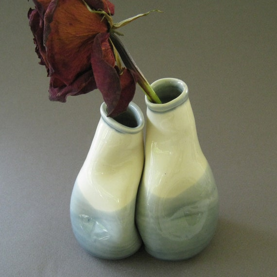 "Romantic White Bud Vase Set - Small vase set - Small vase pair - ""Here for you"""