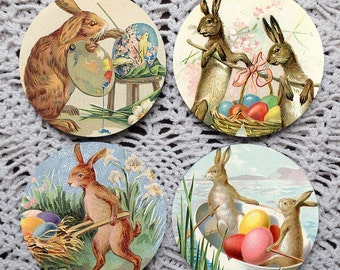 Hopping Down the Bunny Trail -- Vintage Rabbit Greeting Card Mousepad Coaster Set