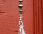 Swarovski beaded glass suncatcher  with tear drop prism & mirrors FREE shipping